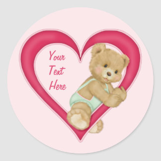 Teddy Heart - Customize text area Classic Round Sticker