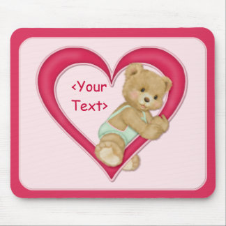 Teddy Heart - Customize text area Mouse Pad