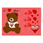 Teddy, Hearts and Flowers Greeting Card