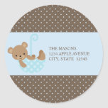 Teddy In An Umbrella | Labels Classic Round Sticker