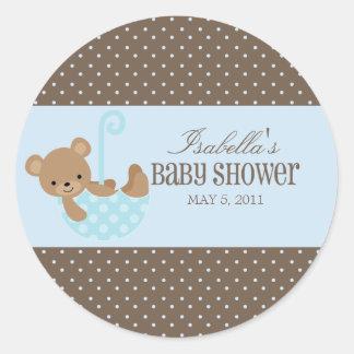 Teddy In An Umbrella | Labels Classic Round Sticker