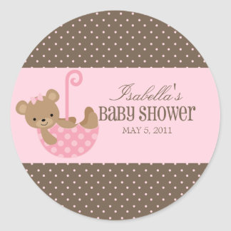 Teddy In An Umbrella | Labels Round Stickers