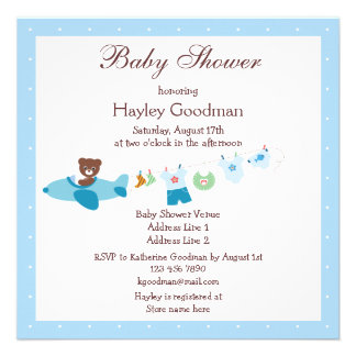 Teddy in Plane Clothesline Blue Baby Shower Personalized Invite