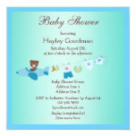 Teddy in Plane & Clothesline Blue Baby Shower 5.25x5.25 Square Paper Invitation Card