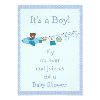 Teddy in Plane & Clothesline Blue Boy Baby Shower Card