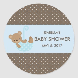 Teddy In Umbrella (Blue) Favor Bag Stickers