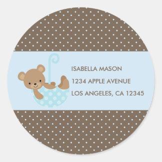Teddy In Umbrella (Blue) Return Address Labels