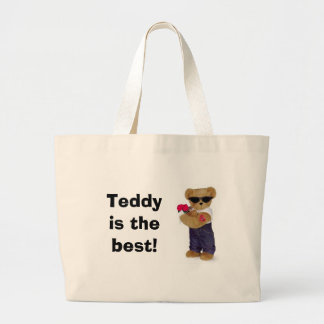 Teddy is the best! large tote bag