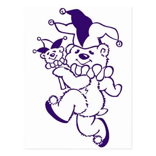 Teddy Jester Purple Ink Postcards