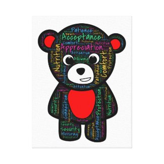 Teddy offers guidance on what every child needs. stretched canvas print