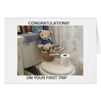 Teddy On Potty Greeting Cards