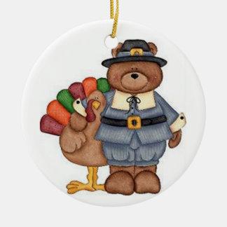 Teddy Pilgrim And Turkey Ceramic Ornament