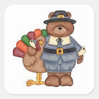 Teddy Pilgrim And Turkey Square Sticker