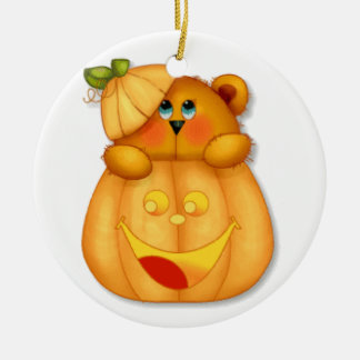Teddy Pumpkin Christmas Tree Ornament