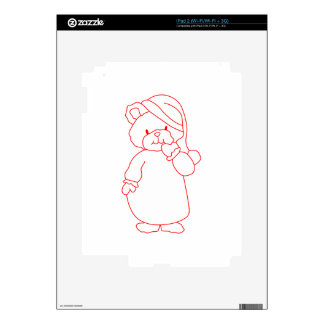 Teddy Redwork Decal For iPad 2