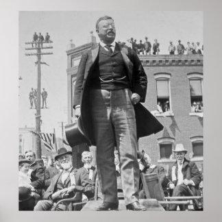 Teddy Roosevelt Addresses Crowd in 1905 Vintage Poster