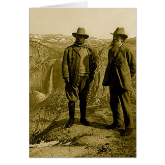 Teddy Roosevelt and John Muir at Glacier Point Card