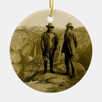 Teddy Roosevelt and John Muir at Glacier Point Ceramic Ornament