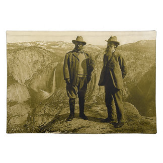 Teddy Roosevelt and John Muir at Glacier Point Cloth Place Mat