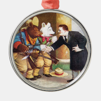 Teddy Roosevelt and the Roosevelt Bear Cowboys Metal Ornament