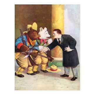 Teddy Roosevelt and the Roosevelt Bear Cowboys Postcard