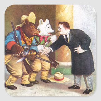 Teddy Roosevelt and the Roosevelt Bear Cowboys Square Sticker
