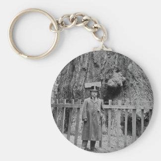 Teddy Roosevelt at the Big Tree Grove Santa Cruz Basic Round Button Keychain