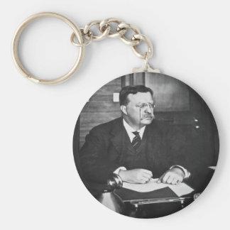 Teddy Roosevelt at Work in 1912 Basic Round Button Keychain