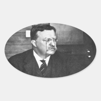 Teddy Roosevelt at Work in 1912 Oval Sticker