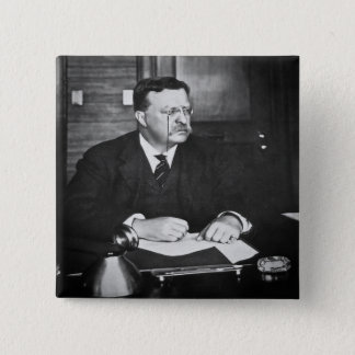 Teddy Roosevelt at Work in 1912 Pinback Button