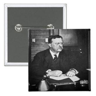 Teddy Roosevelt at Work in 1912 Pinback Button