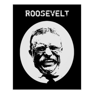 Teddy Roosevelt -- Black and White Poster