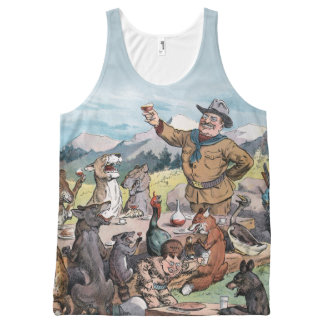 Teddy Roosevelt Celebrates With Wildlife - Vintage All-Over Print Tank Top