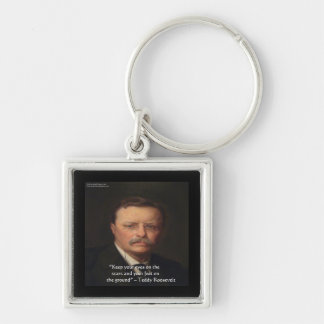 "Teddy Roosevelt ""Feet On Ground"" Wisdom Quote Gift Keychain"