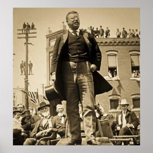 Teddy Roosevelt habla el vintage 1905 Posters
