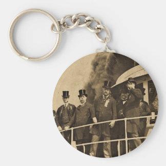 Teddy Roosevelt on the Steamer Tashmoo Vintage Basic Round Button Keychain
