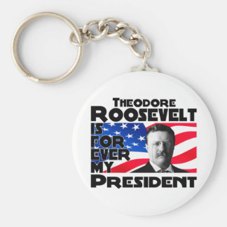 Teddy Roosevelt para siempre Llavero Redondo Tipo Pin
