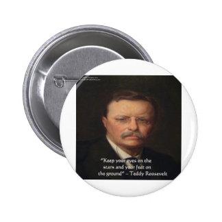 """Teddy Roosevelt """"pies en"""" el regalo de tierra de l Pin Redondo De 2 Pulgadas"""