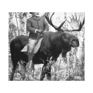 Teddy Roosevelt que monta un alce de Bull Impresión En Lienzo