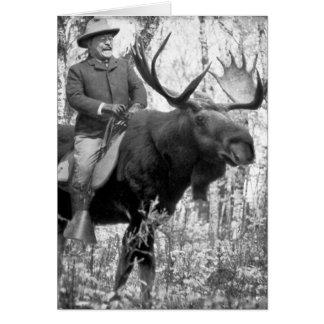 Teddy Roosevelt que monta un alce de Bull Tarjeta De Felicitación