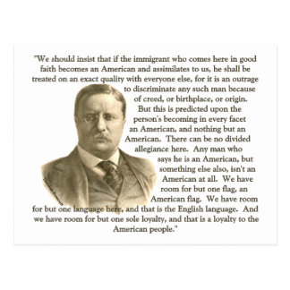 Teddy Roosevelt Quote Post Card