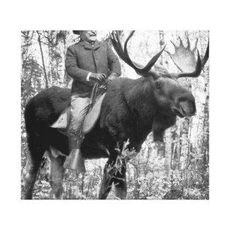 Teddy Roosevelt Riding A Bull Moose Canvas Print