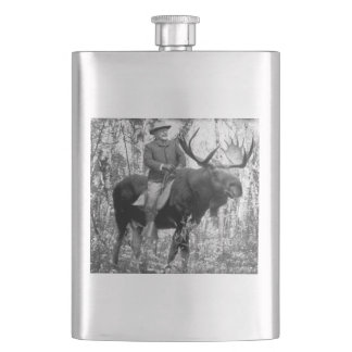 Teddy Roosevelt Riding A Bull Moose Hip Flask