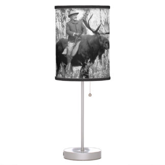 Teddy Roosevelt Riding A Bull Moose Table Lamps