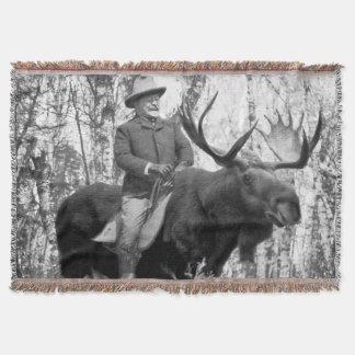 Teddy Roosevelt Riding A Bull Moose Throw Blanket