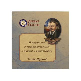 Teddy Roosevelt rustic wall plaque - 5 Wood Wall Decor