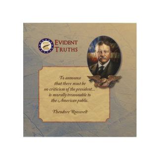 Teddy Roosevelt rustic wooden plaque - 6 Wood Print