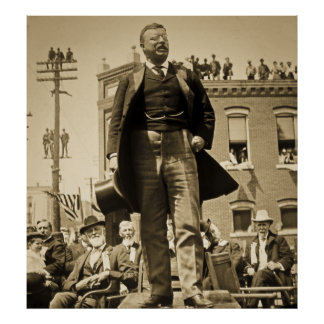 Teddy Roosevelt Speaks 1905 Vintage Poster