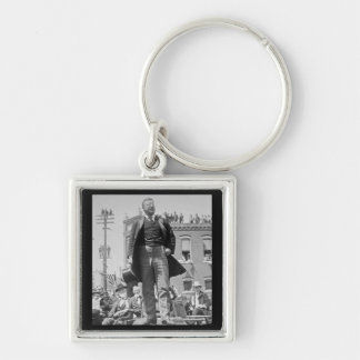 Teddy Roosevelt Stereoview Card 1905 Vintage Silver-Colored Square Keychain