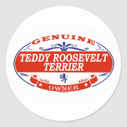 TEDDY ROOSEVELT TERRIER_ PEGATINAS REDONDAS
